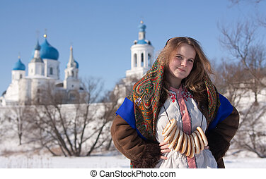 girl in russian traditional kerchief - Smiling girl in...