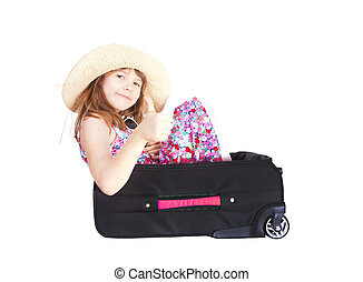 smiling girl in suitcase with thumb up over white background