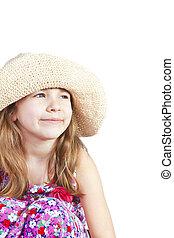 smiling girl in summer hat over white background