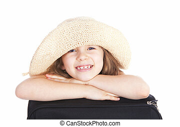 smiling girl in summer hat with suitcase isolated over white