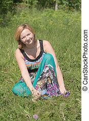 Smiling girl in summer