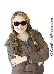 Smiling girl in sunglasses hands folded