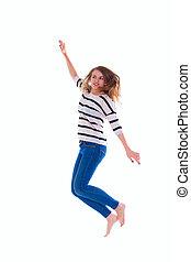 smiling  girl in white blank t-shirt jumping
