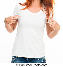 Smiling girl in white t-shirt isolated