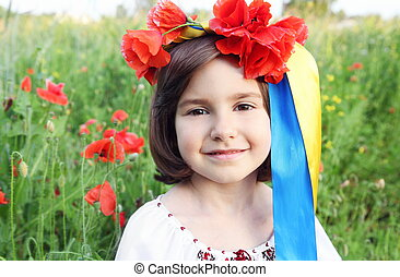 Smiling Girl in Wreath with Ribbons of Ukrainian Flag Colors
