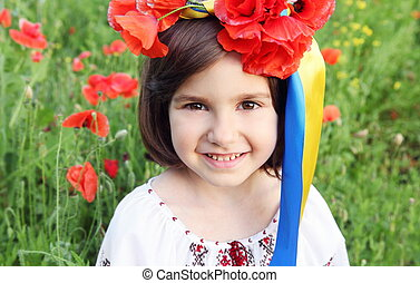 Smiling Girl in Wreath with Ukrainian Flag Yellow and Blue Ribbons