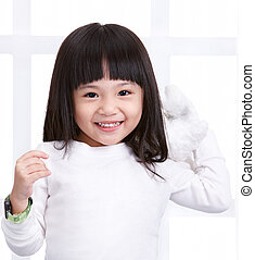 smiling girl - little girl smiling, copy space on the chest