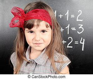 Girl Near Blackboard Proud