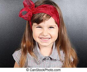 Smiling Girl Near Blackboard