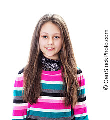 smiling girl on a white background