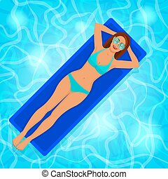 Smiling girl on air mattress in pool water. vector...