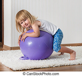 smiling girl on the ball