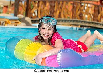 Smiling Girl on Water Raft