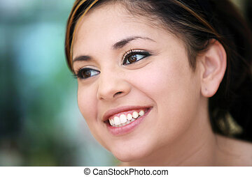 Portrait of a young mexican girl smiling