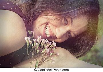 smiling girl portrait outdoor closeup