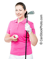 smiling girl posing with a golf club in the studio