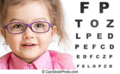 Smiling girl putting on glasses with blurry eye chart behind her isolated on white