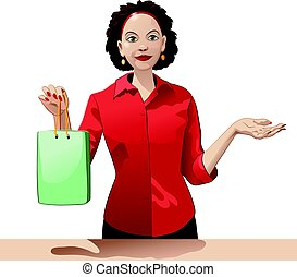 Smiling girl sales clerk holding a shopping bag and offers products