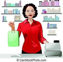 Smiling girl sales clerk holding a shopping bag and offers products over background of showcase