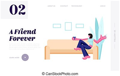 Smiling Girl Sitting on Sofa Drinking Coffee or Tea at Home Interior. Female Leisure, Sparetime, Relaxing, Chatting with Friend Website Landing Page, Web Page. Cartoon Flat Vector Illustration, Banner
