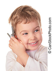 smiling girl speaks on cell phone 2