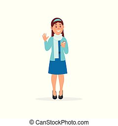 Smiling girl standing with smartphone and waving her hand vector Illustration on a white background