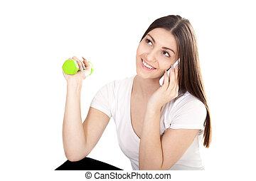 smiling girl doing back training on sport apparatus