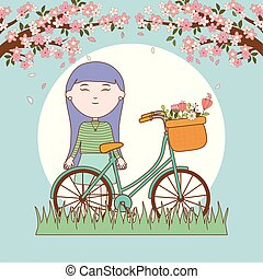 smiling girl tree branch flowers and bicycle cartoon