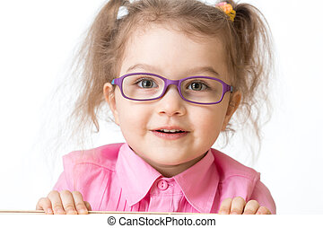 Smiling girl wearing glasses closeup portrait isolated on...