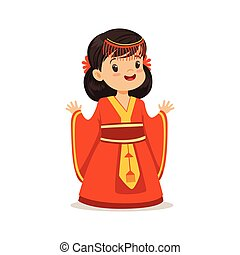 Smiling girl wearing red dress, national costume of China colorful character vector Illustration