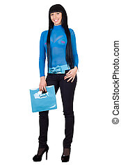 Smiling girl with a blue handbag. Isolated