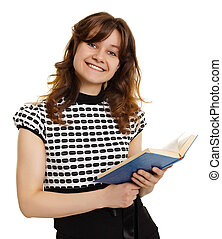 Smiling girl with a book isolated on white