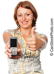 Smiling girl with a mobile phone