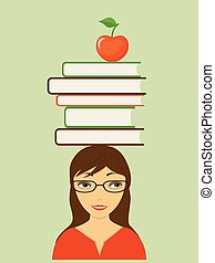 smiling girl with books and apple