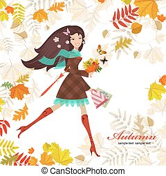 Smiling girl with bouquet of fall colorful leaves. happy autumn