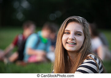 Smiling Girl with Braces