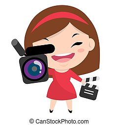 Smiling girl with camera and clapperboard wearing red dress and headband