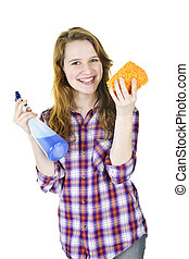 Smiling girl with cleaning supplies