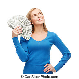 smiling girl with dollar cash money - money, finances and...