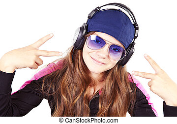 girl with headphones listen music showing peace sign