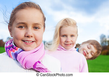 smiling girl with her friends