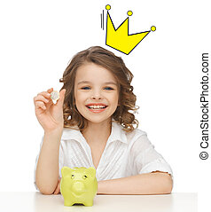 smiling girl with piggy bank and euro coin - people,...