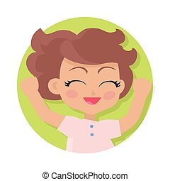 Smiling Girl with Raised Hands. Brown Wavy Hair