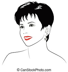 A smiling girl with short dark hair - vector illustration