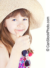 smiling girl with thumb up over white background