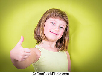 smiling girl with thumbs up
