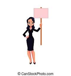Smiling girl, woman, businesswoman on strike, empty board in hand