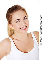 Smiling girl`s upclose. - Pretty caucasian smiling girl`s...