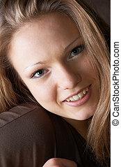 smiling glance :-) - open glance of amused smiling beautiful...