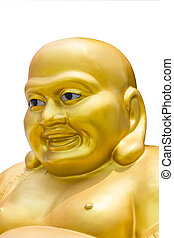 Smiling Golden Buddha Statue in thailand isolated on a white bac